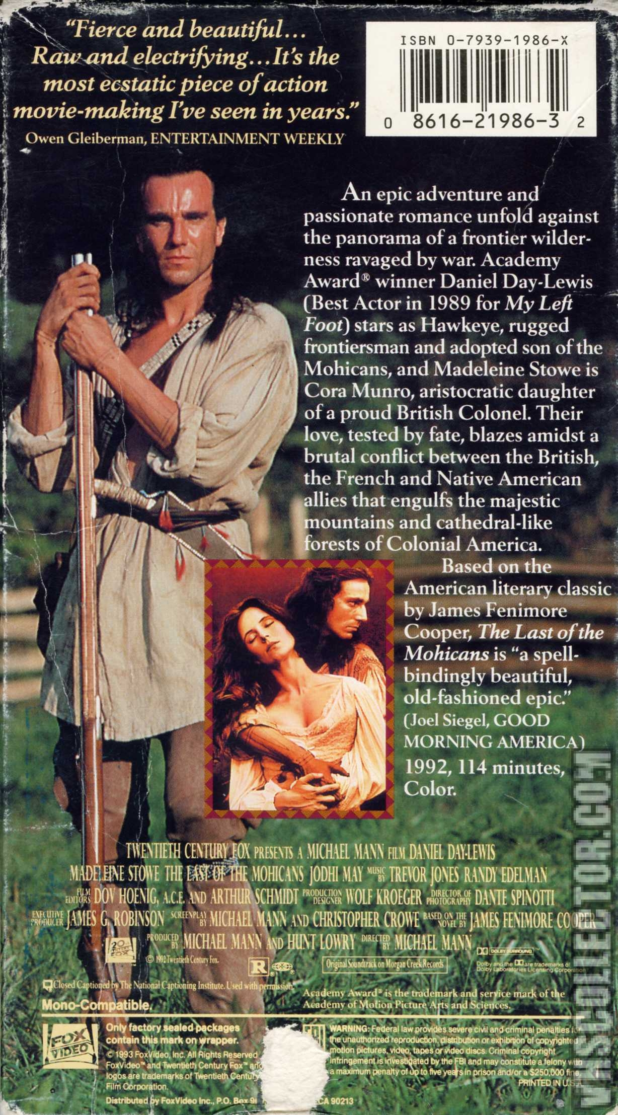 The Last of the Mohicans | VHSCollector com
