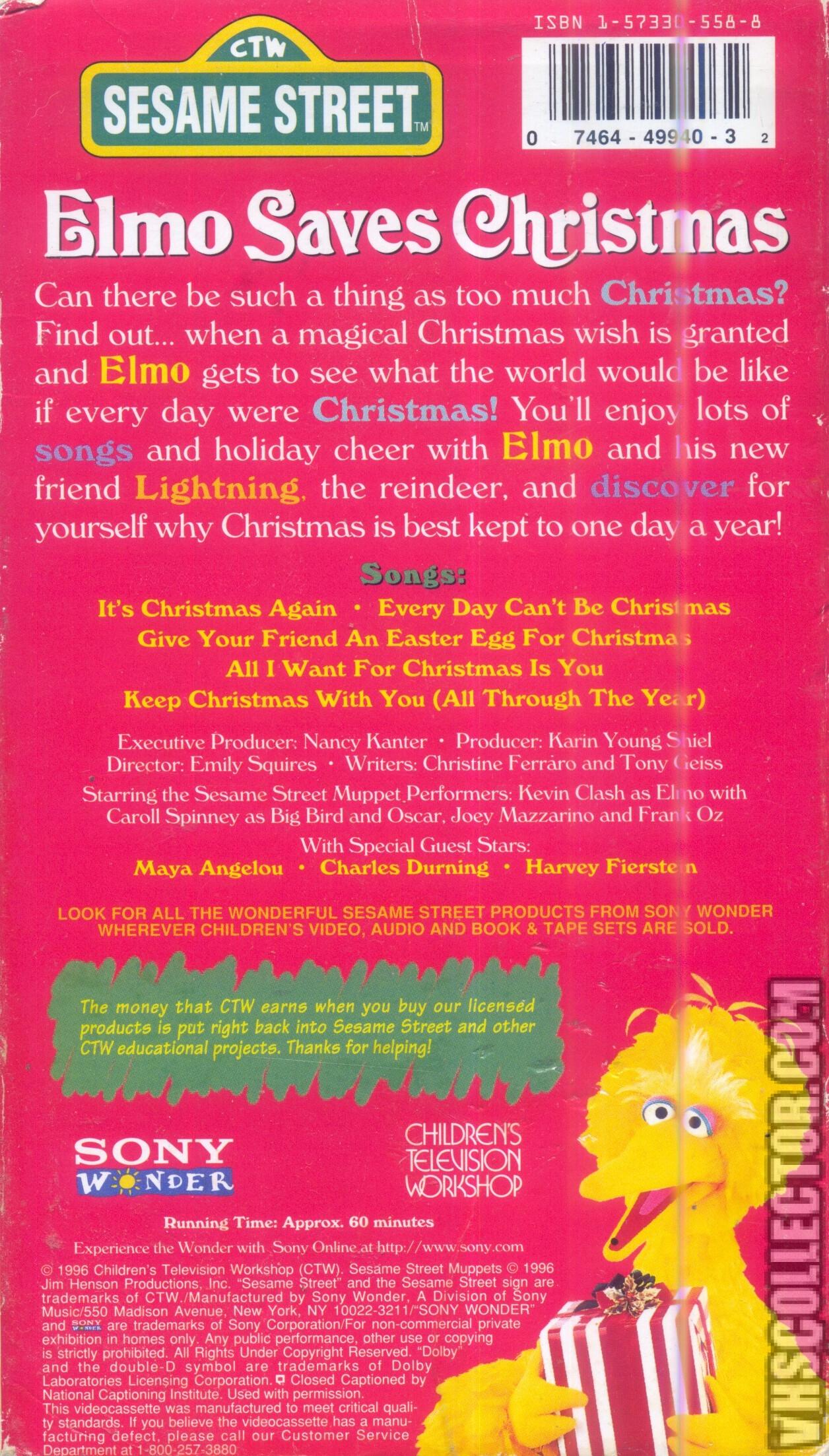 Elmo Saves Christmas.Sesame Street Elmo Saves Christmas Vhscollector Com