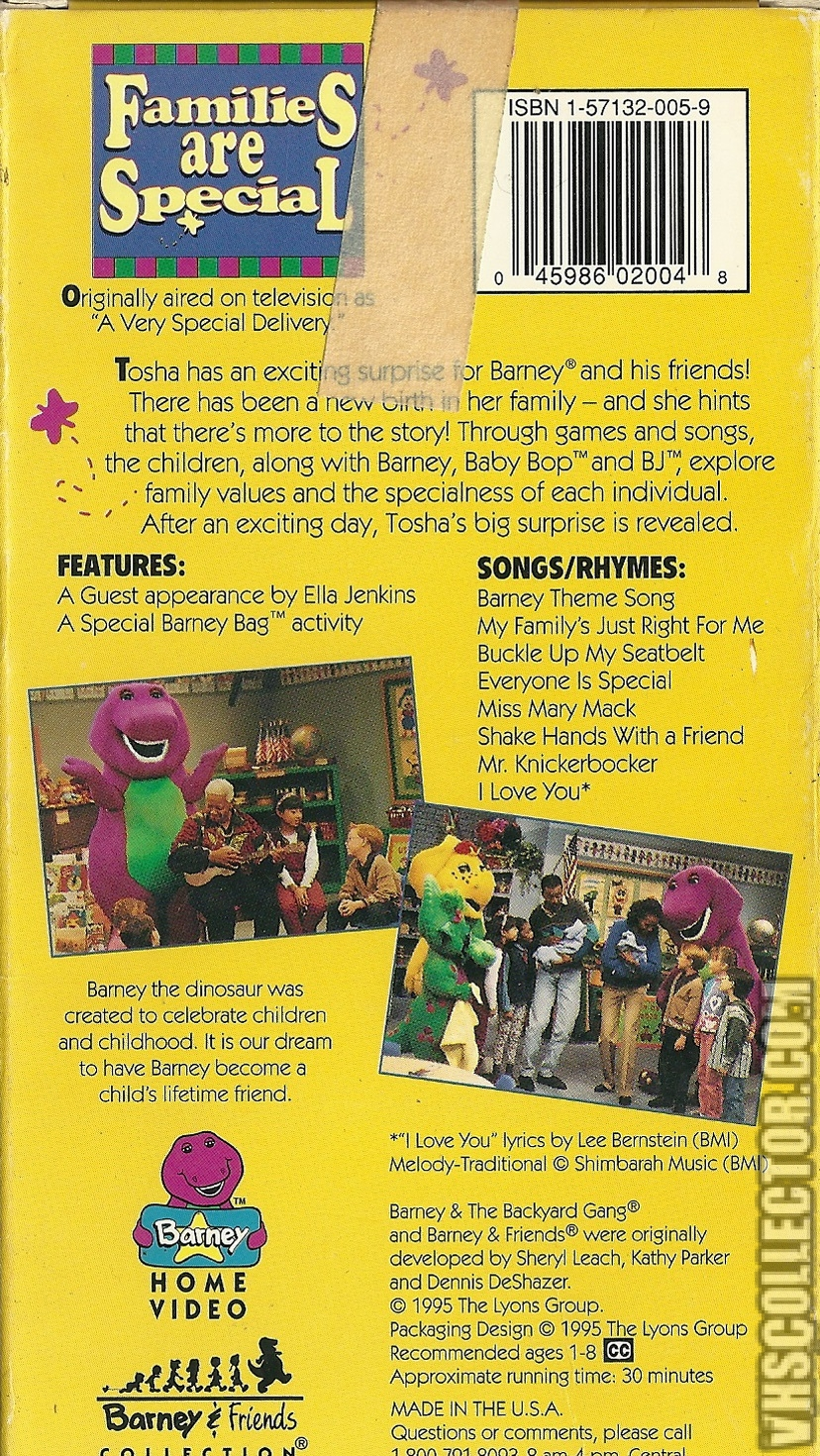 Barney: Families Are Special | VHSCollector com