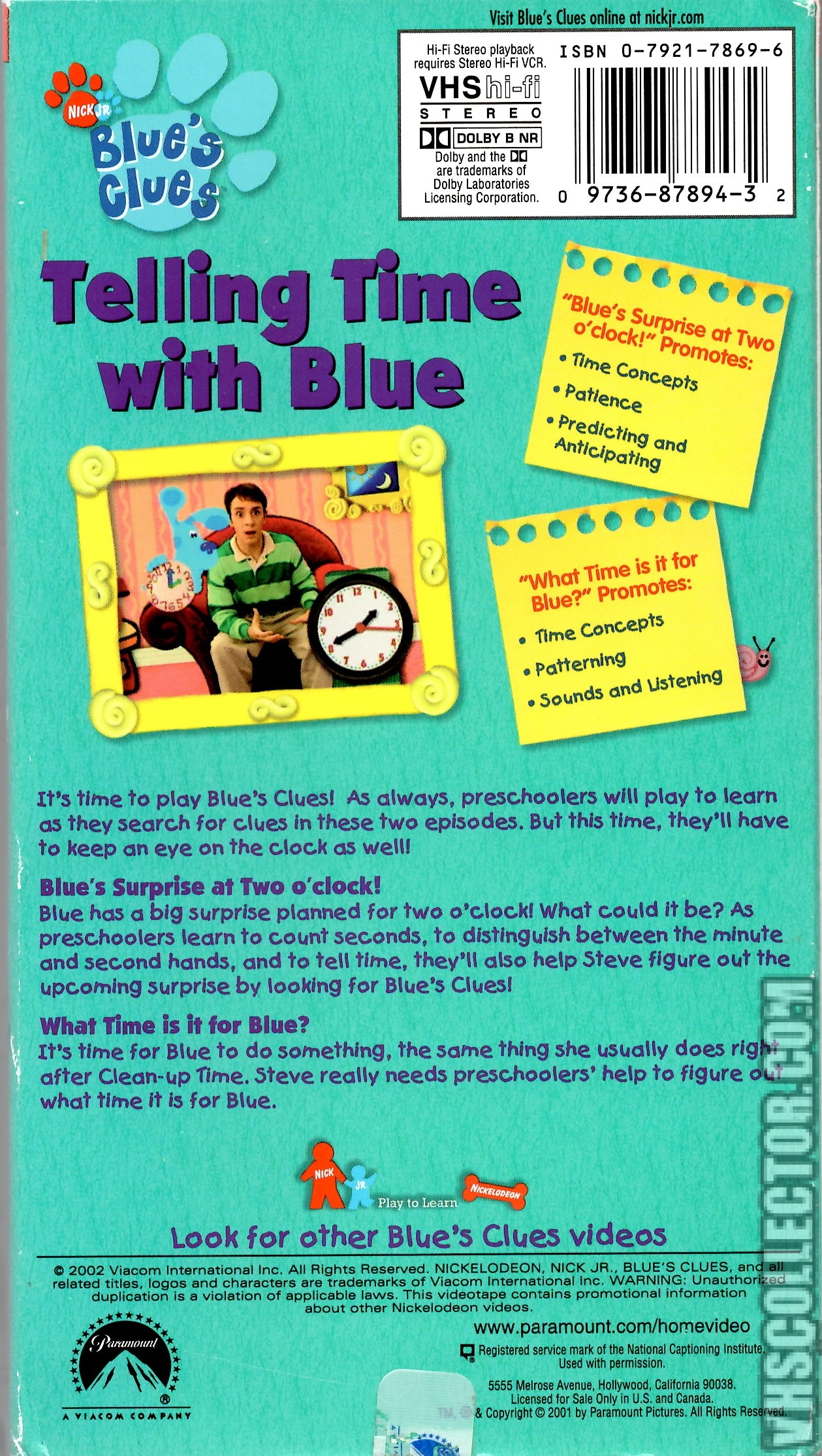 blue s clues telling time with blue vhscollector