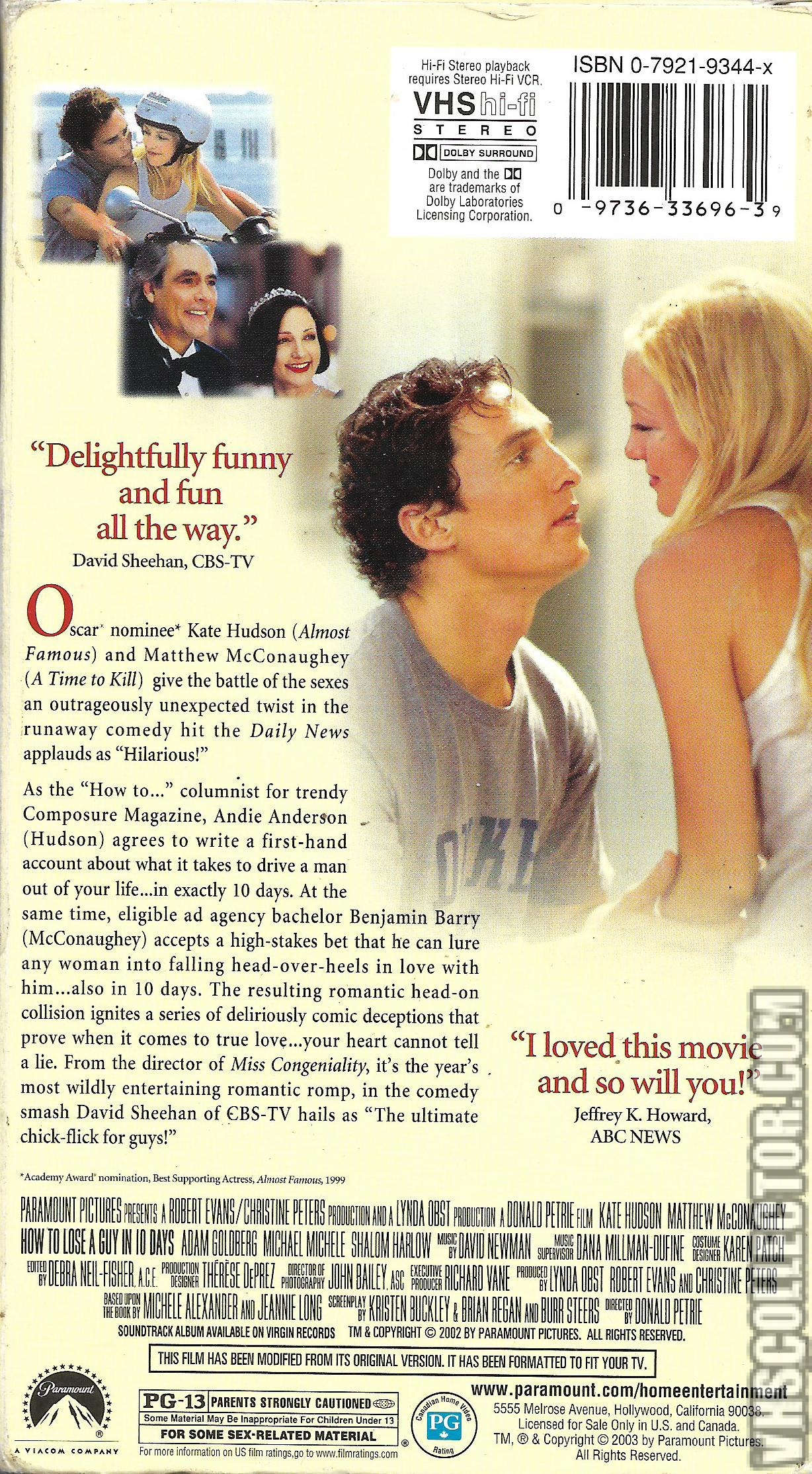 How To Lose A Guy In 10 Days Vhscollector Com