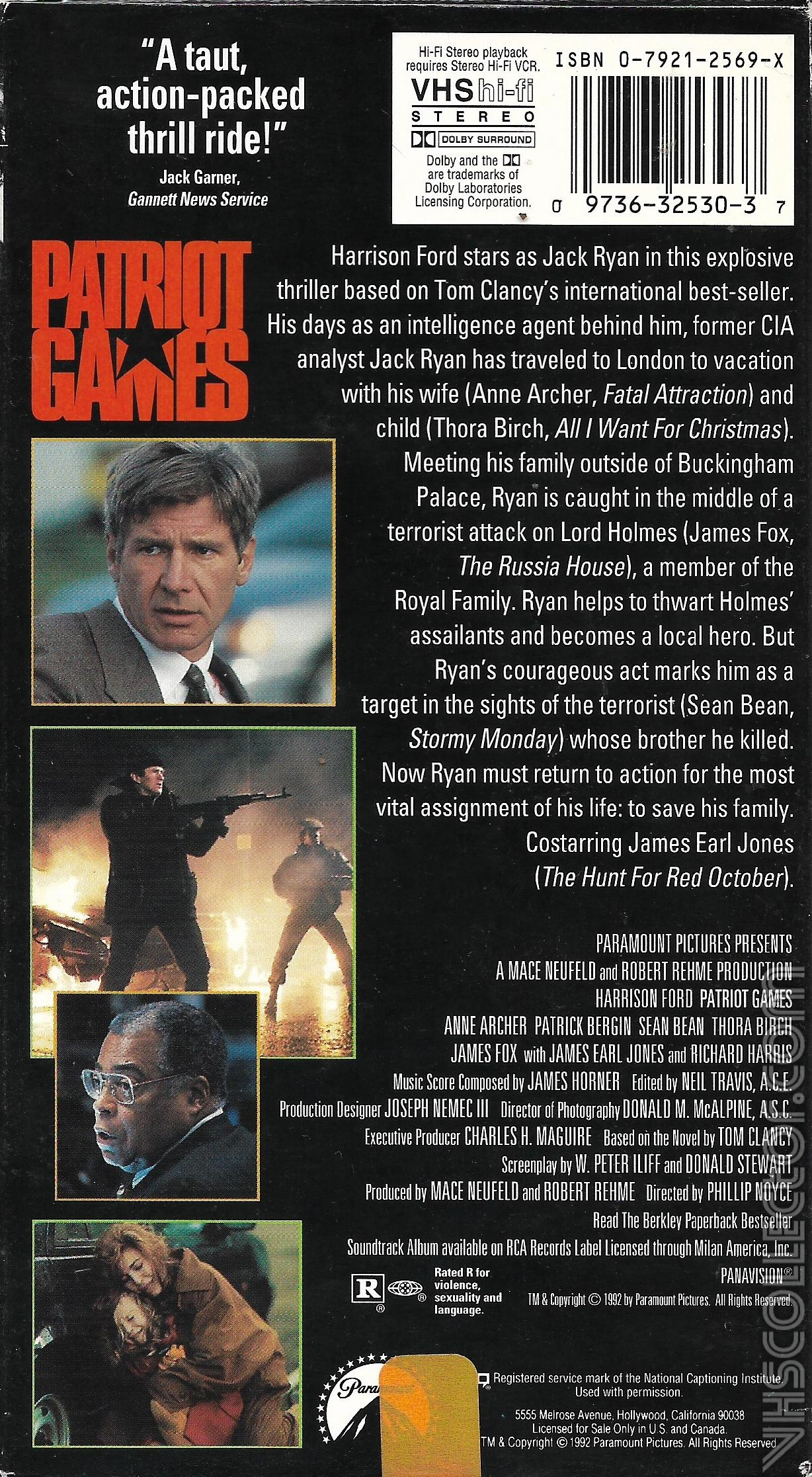 Patriot Games Vhscollector Com