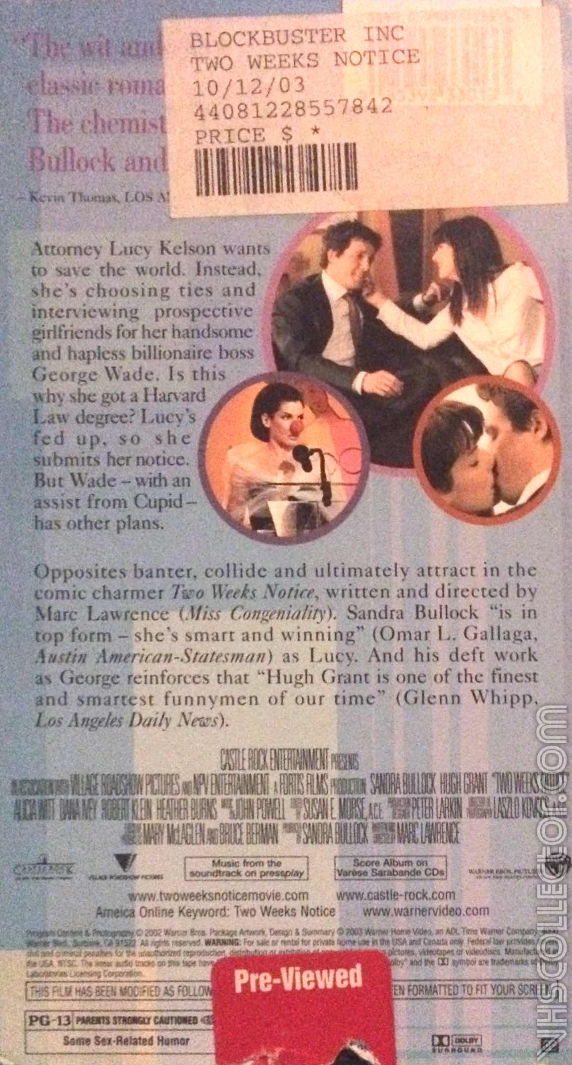 Two Weeks Notice Vhscollector Com